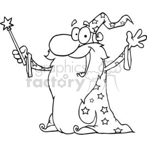 Black and white Wizard waving wearing a cape holding a magic wand clipart.  Royalty.