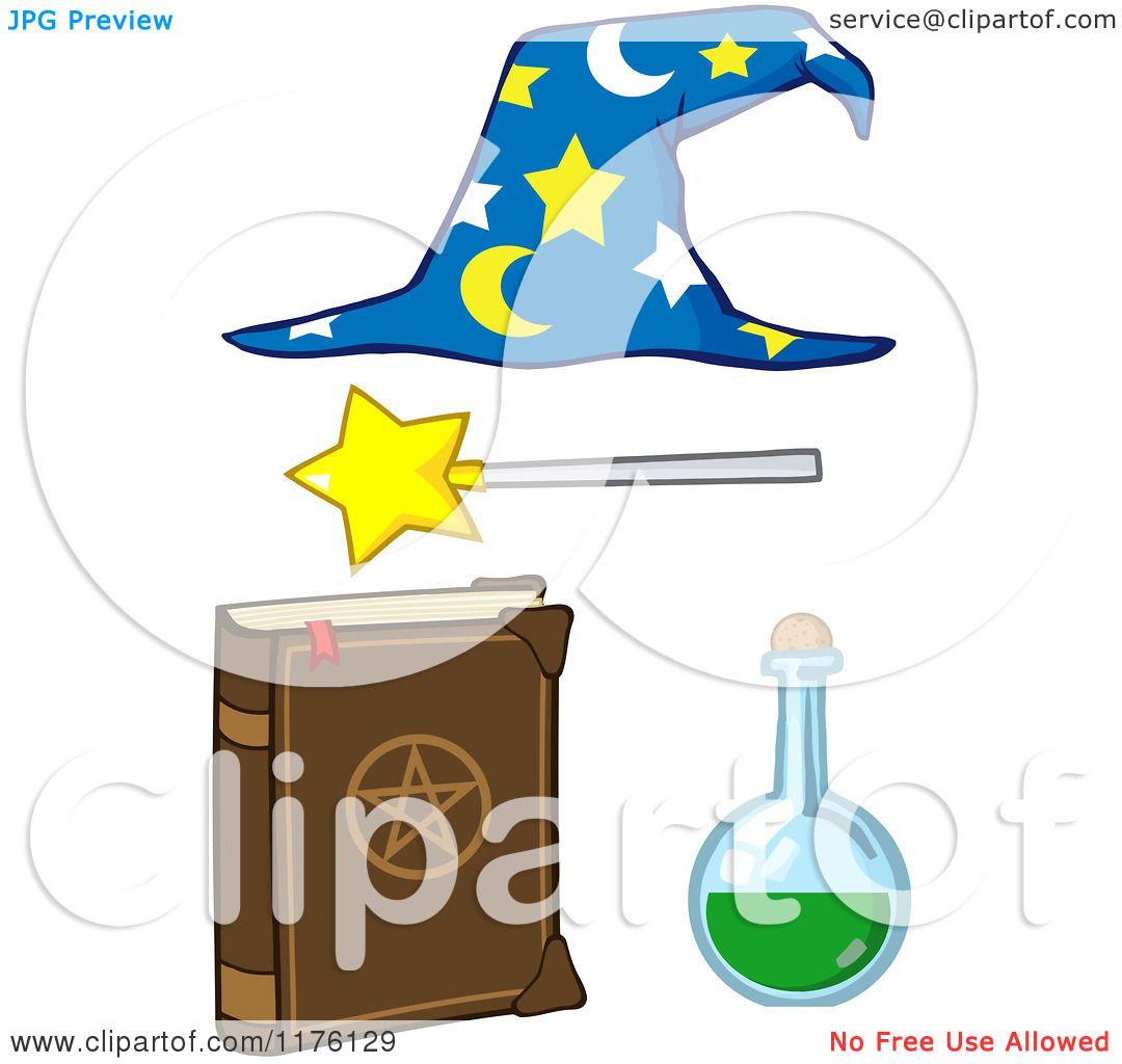 Cartoon of a Magic Book Flask Magic Wand and Wizard Hat.