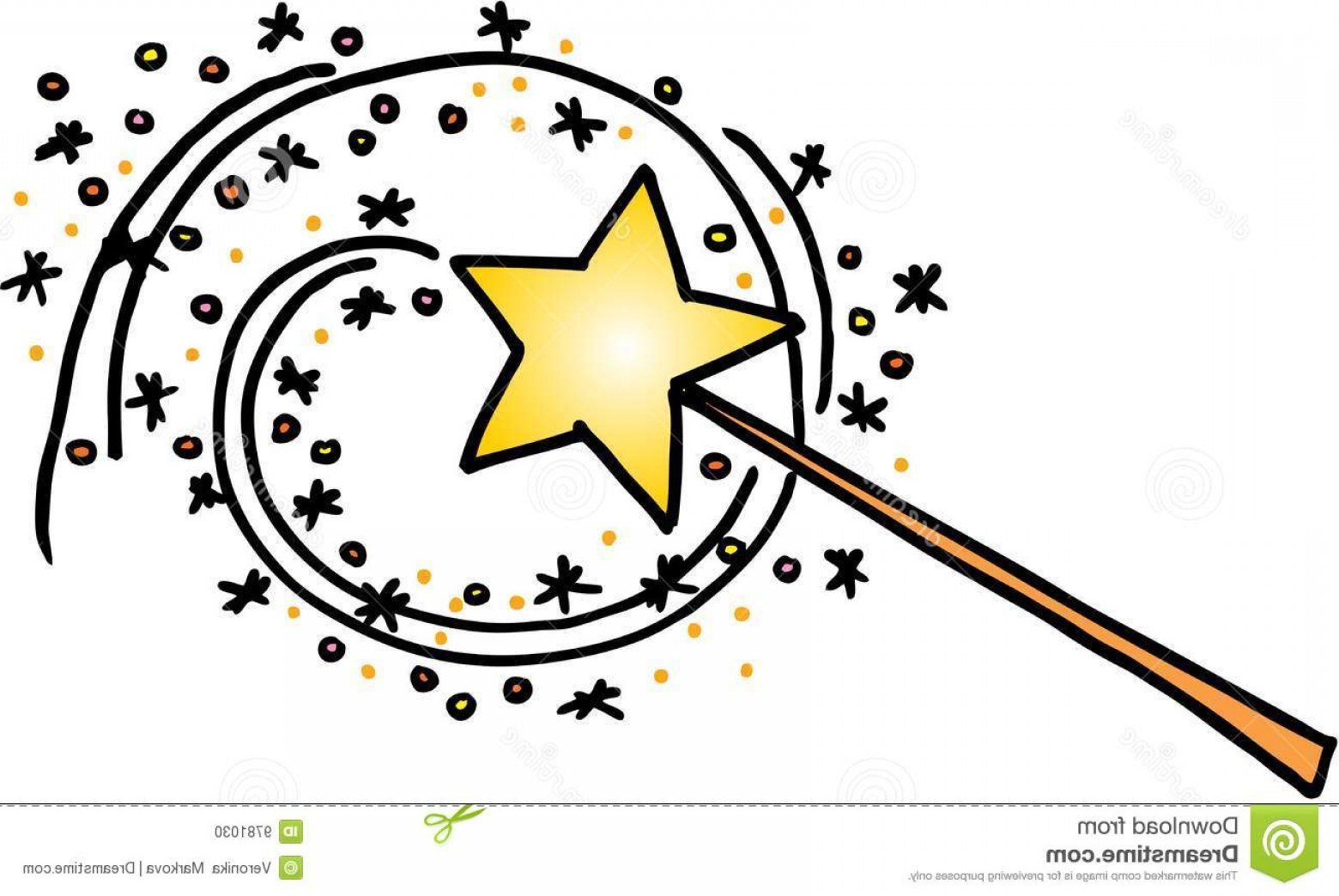 Magic Wand With A Trail Of Stars Vector Image On White.