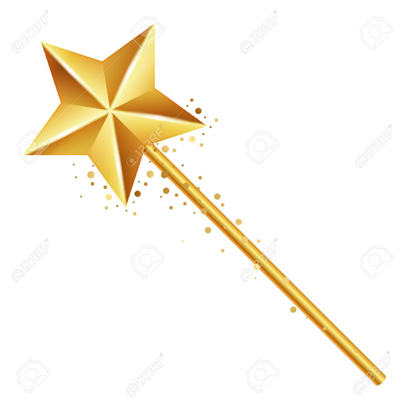 Vector illustration of golden magic wand.