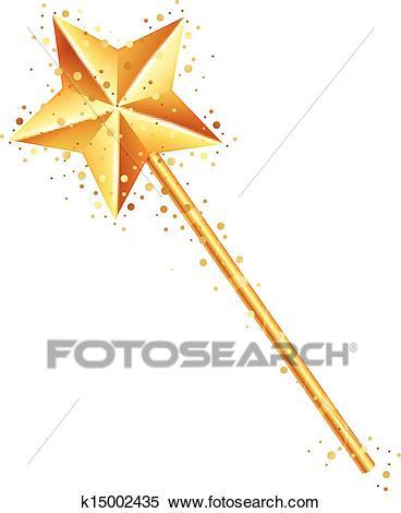 Vector illustration of magic wand Clipart.