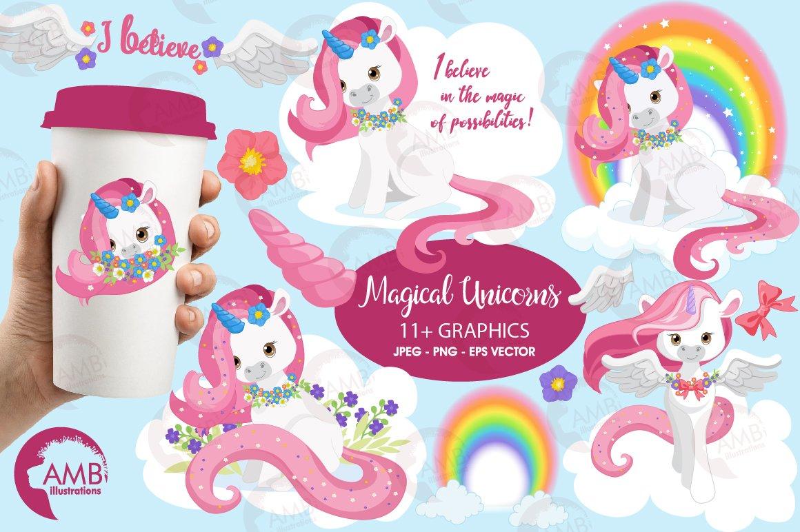 Magical Unicorn Clipart, AMB.