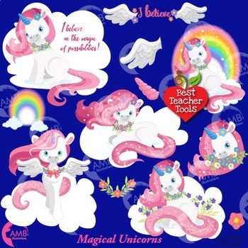 Unicorn clipart, White and Pink Unicorns Clipart {Best Teacher Tools}  AMB.