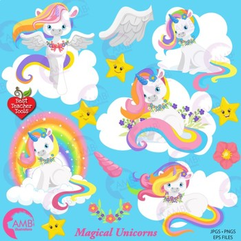 Unicorn Clipart, Magical Unicorn Clipart, {Best Teacher Tools} AMB.