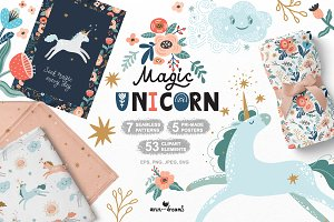 Magical Unicorn. Clipart & patterns.