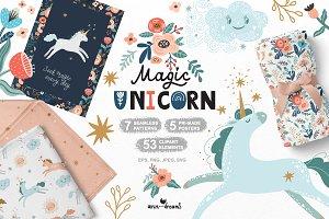 Magical Unicorn. Clipart & patterns.