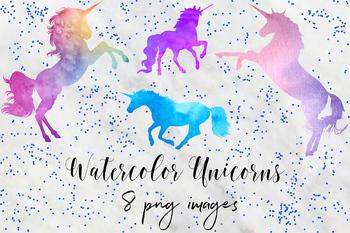 Watercolor Unicorn Graphics, Magical Unicorn Clipart, Unicorns Clip Art.