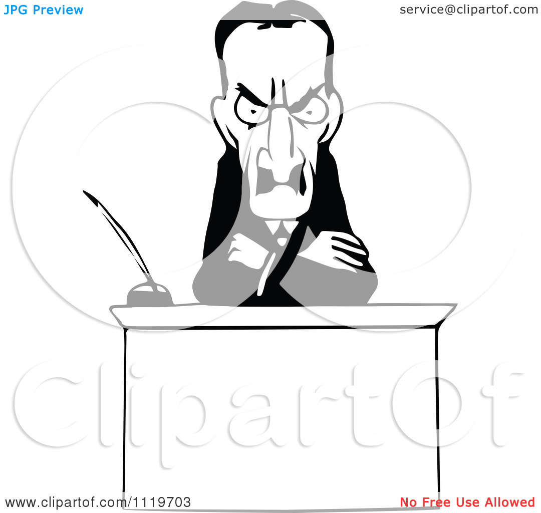 Clipart Of A Retro Vintage Black And White Intimidating Magistrate.