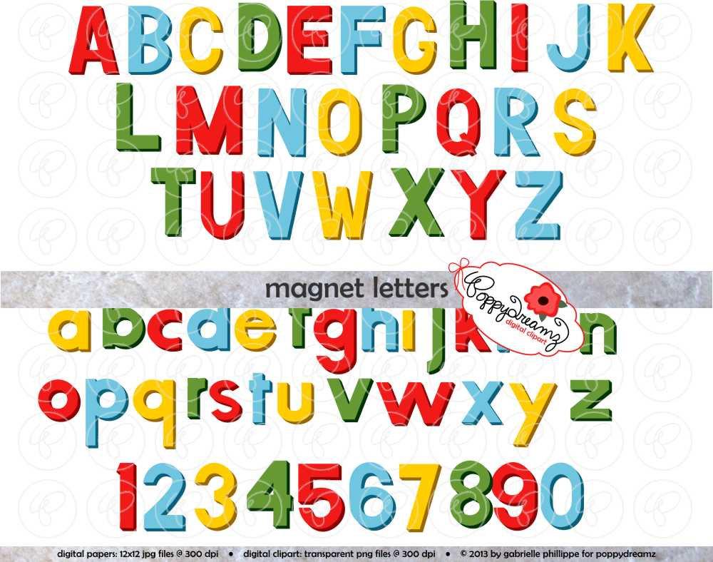 Magnet Letters Alphabet: Clip Art Pack 300 dpi transparent.