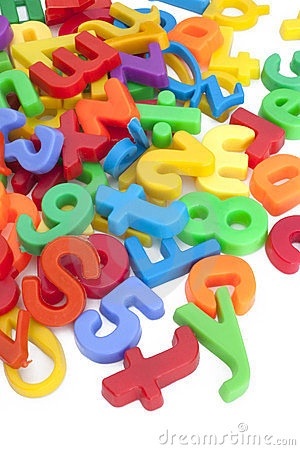Magnetic Numbers And Letters Royalty Free Stock Photo.