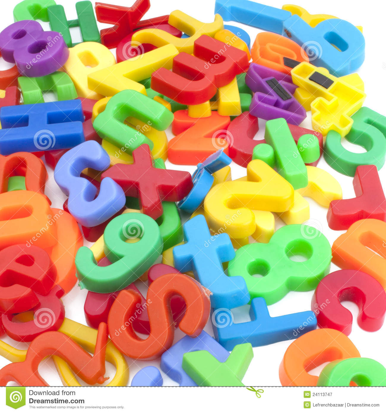 Magnetic Letters And Numbers Royalty Free Stock Photography.