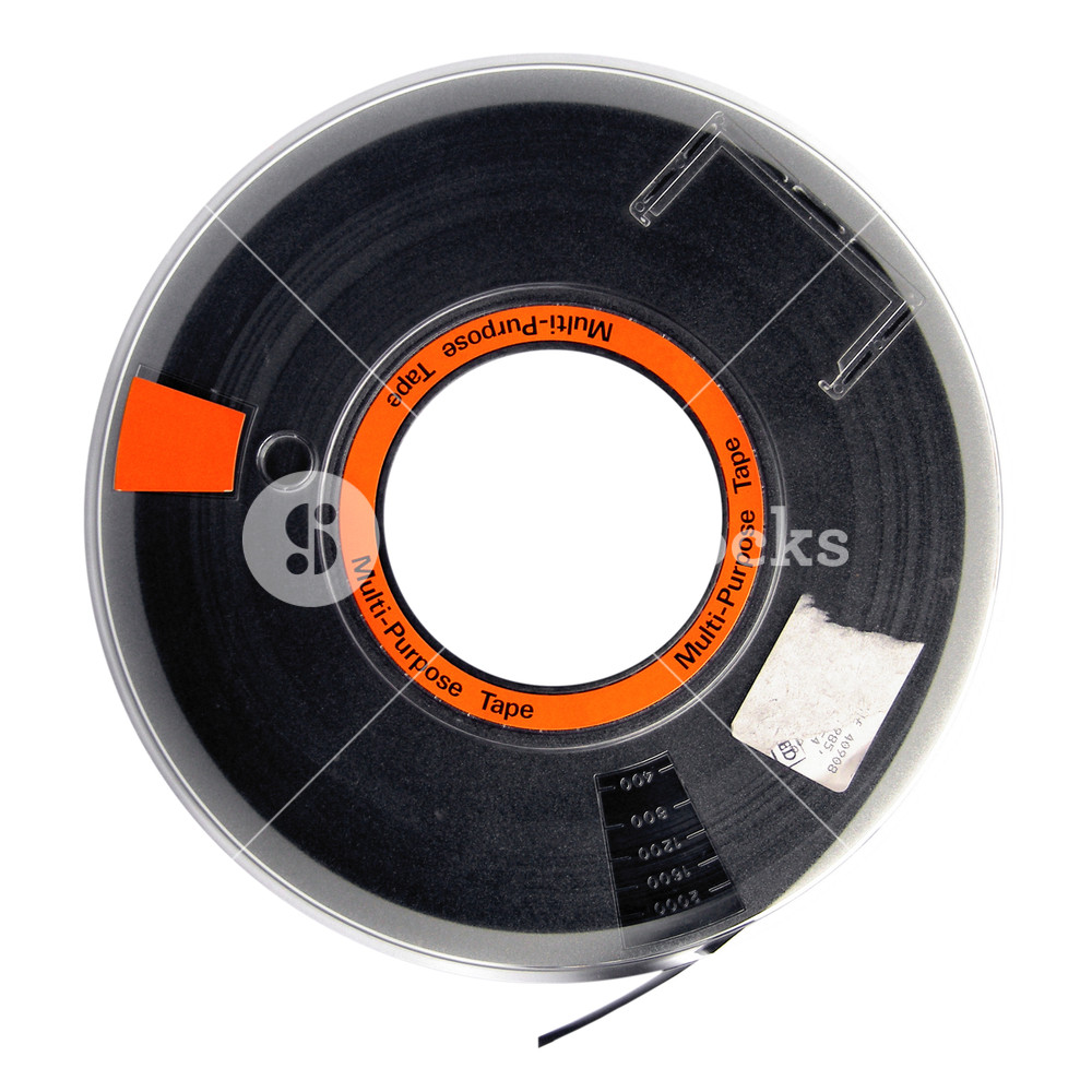 Magnetic tape reel for computer data storage isolated over.