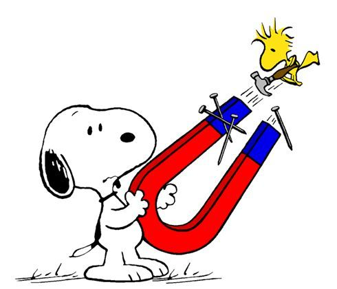 Clip Art: Magnets, science with Snoopy & Woodstock.