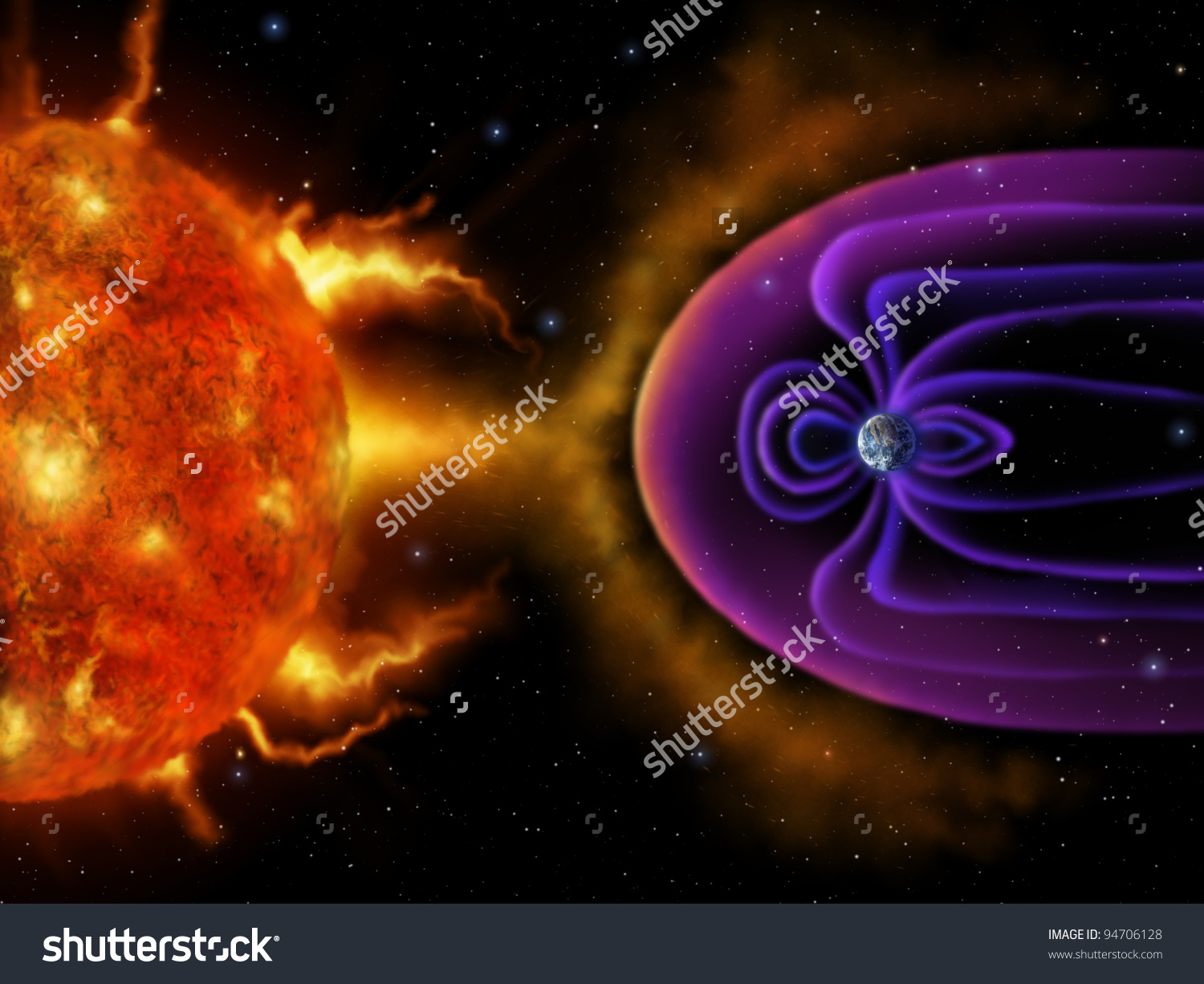 Digital Illustration Earths Magnetosphere Deflecting Solar Stock.