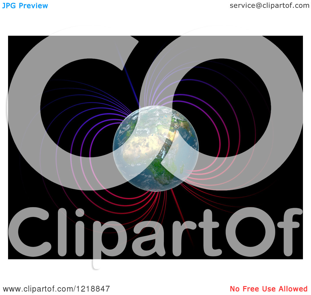 Clipart of a 3d Earth with Magnetosphere.