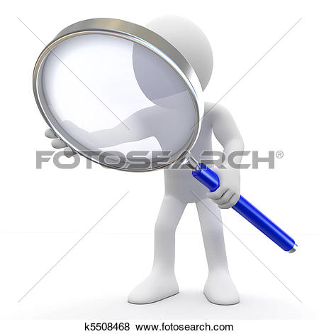 Clip Art of A person with a magnifying glass in front of one eye.
