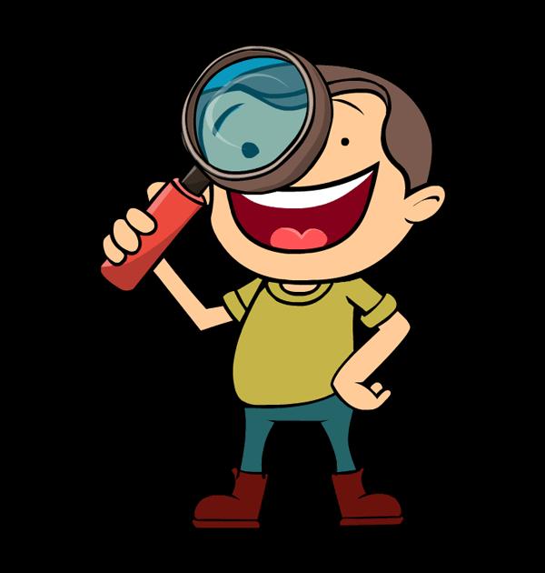 clip art groundhog day boy kid happy magnifier.