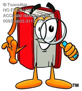 Stock Clipart Image of a Cartoon Book Character Looking Through a.