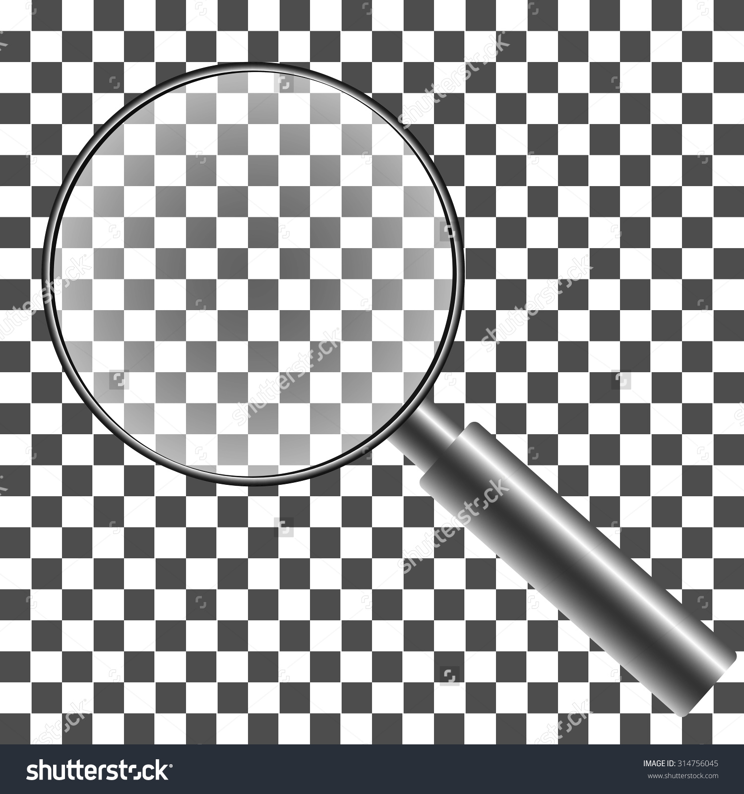 Magnifying Glass Transparent Background Gradient Mesh Stock Vector.
