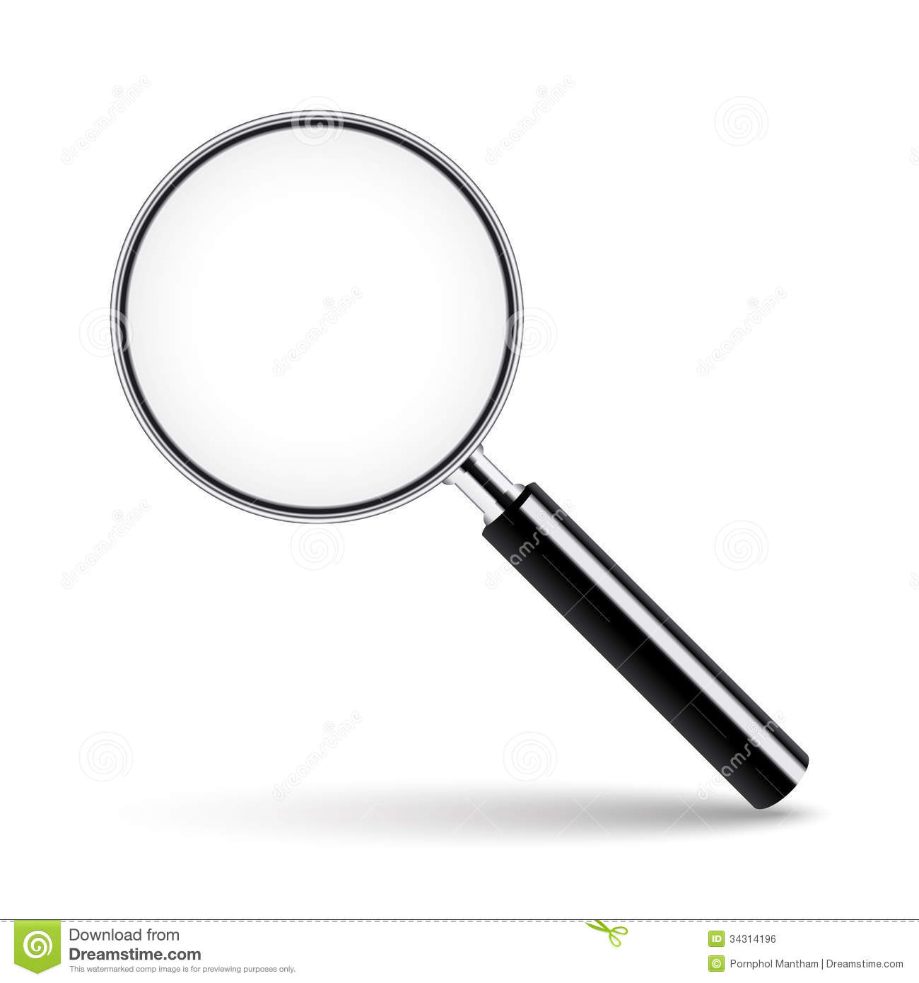 Magnifying Glass On Transparent Background. Stock Vector.
