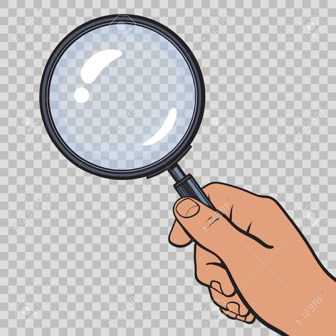 Hand holding magnifying glass on transparent background. Vector..