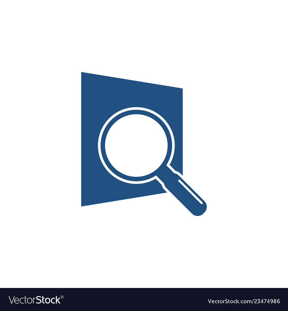 Magnifying glass searching logo icon graphic.