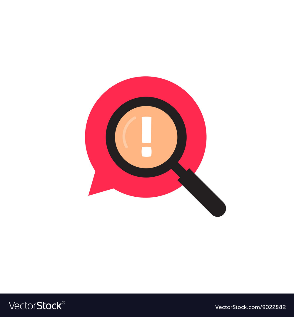 Red bubble speech with magnifying glass logo.