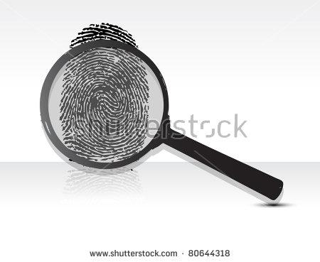 Black Fingerprint Through Magnifying Glass Vector Stock Vector.