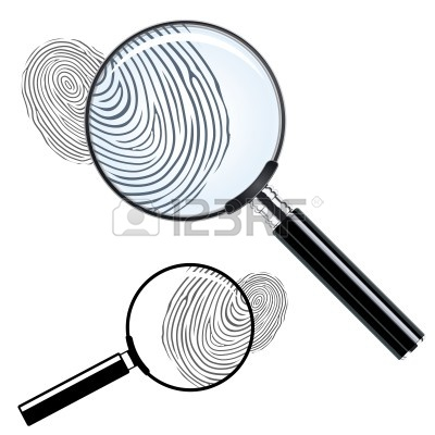 Magnifying Glass With Fingerprint Clipart.