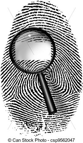 Stock Illustrations of Fingerprint and magnify glass with blamk.