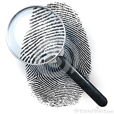 Magnifying Glass With Finger Print Stock Illustration.
