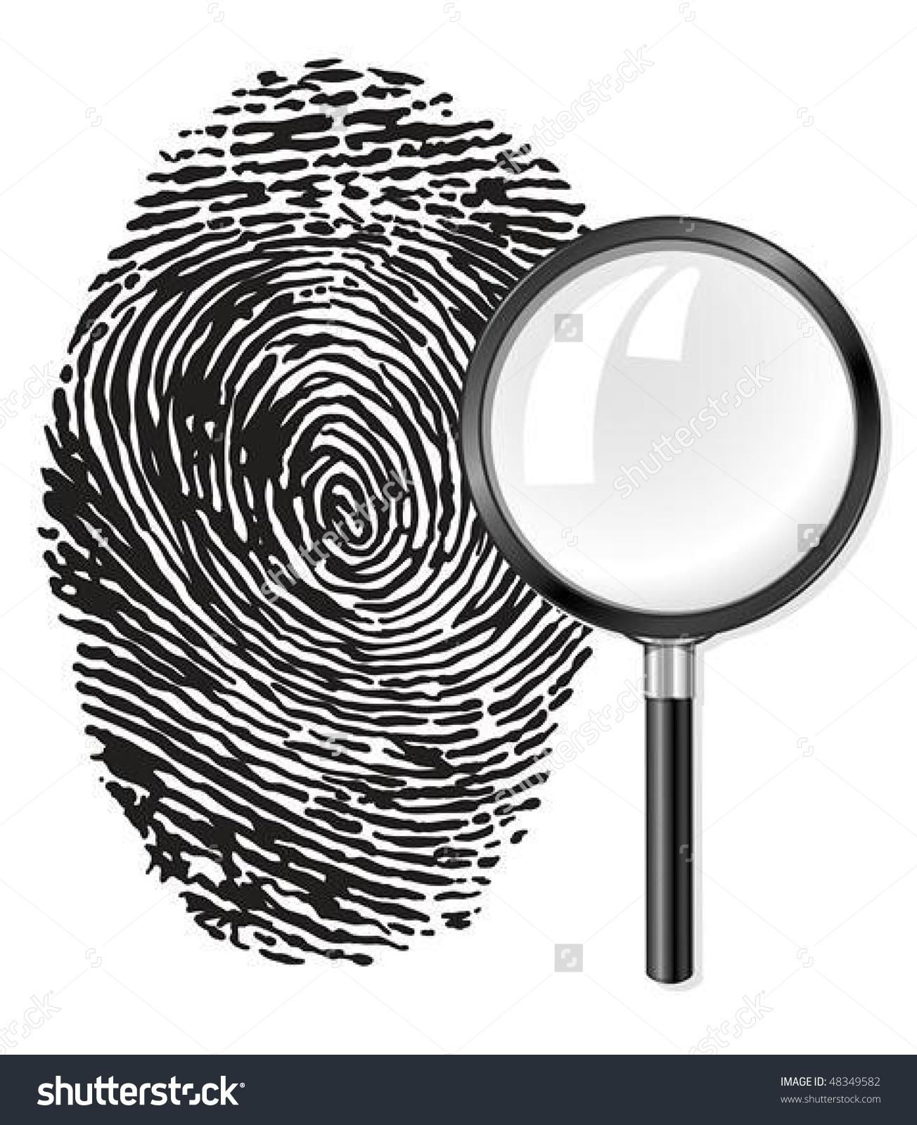 Black Fingerprint Magnifying Glass Loupe Vector Stock Vector.