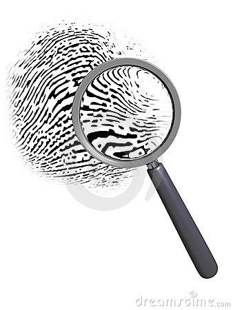 Fingerprint Magnifying Glass Royalty Free Stock Image.