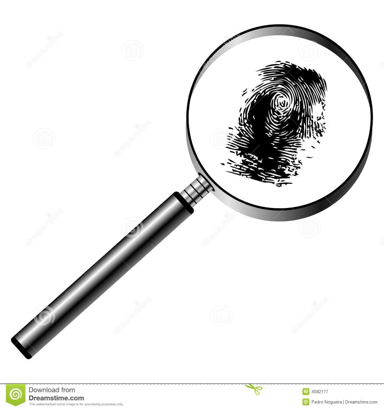 Fingerprint Magnifying Glass Stock Illustrations.