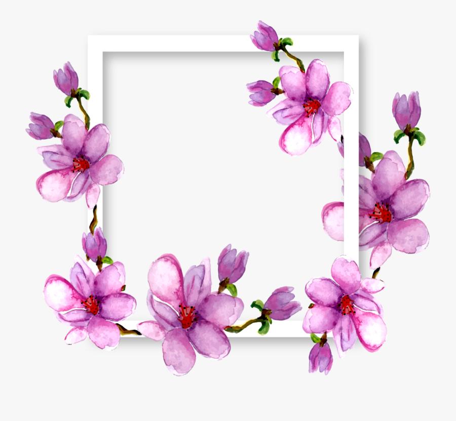 flowers #magnolia #border #frame #watercolor #purple.
