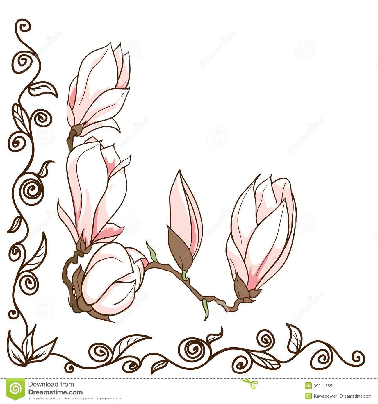 Magnolia Flower Clipart.