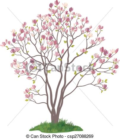 Clip Art Vector of Magnolia Tree with Flowers and Grass.