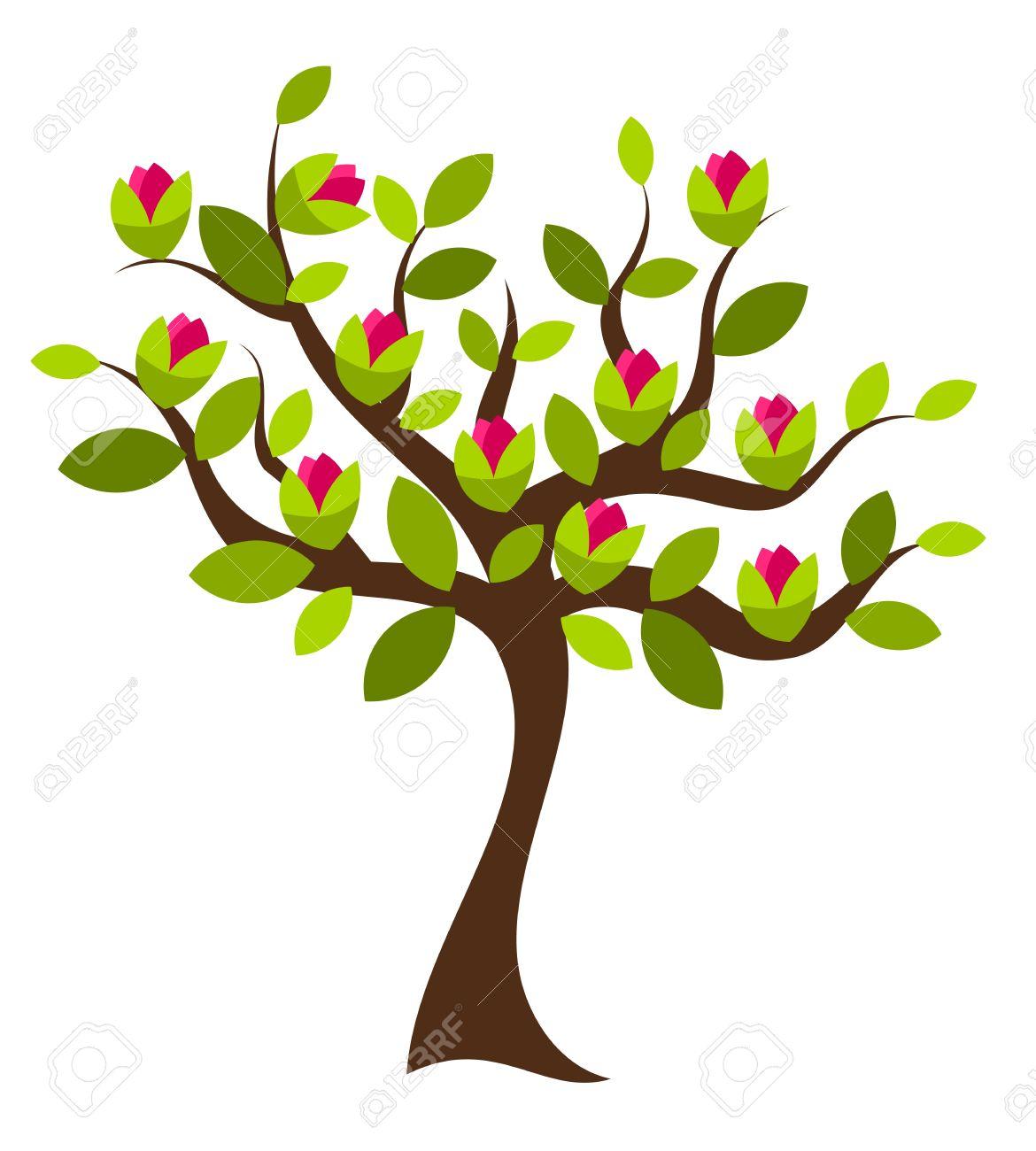 Beautiful Magnolia Tree With Big Pink Flowers. Vector Illustration.