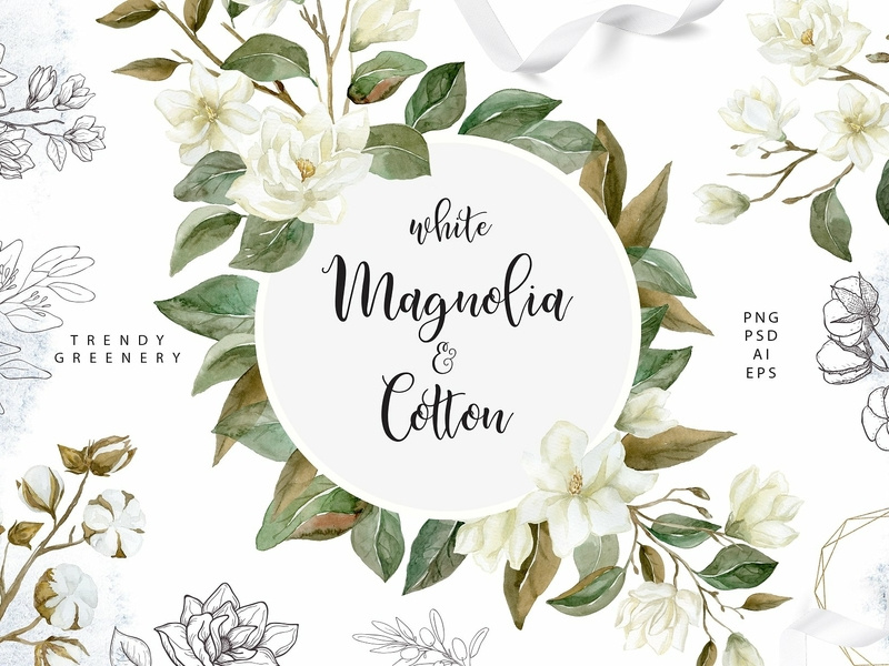 White Magnolia and Cotton. Greenery. by Graphic Assets on.