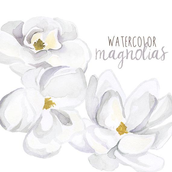 Watercolor Magnolias Floral Clipart Floral Magnolia Clip by.