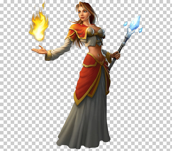 Personaje de mago con ilustración de bastón de hielo.