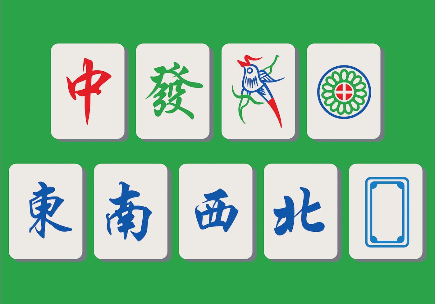 Mahjong Tiles Free Vector Art.