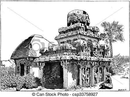 Vector Illustration of Mahabalipuram in Tamil Nadu, India, vintage.
