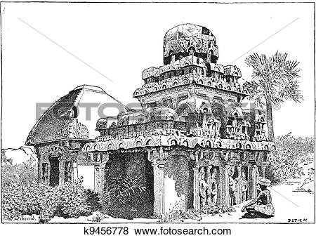 Clip Art of Mahabalipuram in Tamil Nadu, India, vintage engraving.
