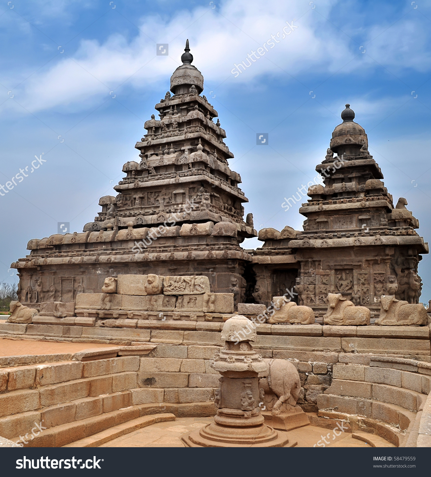 Seashore Temple Mahabalipuram India Stock Photo 58479559.