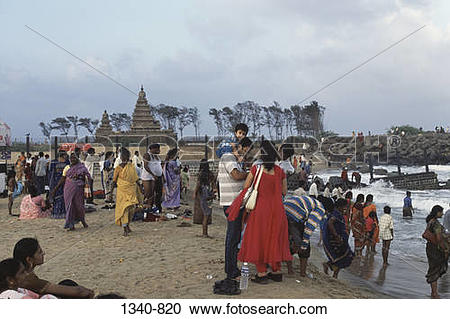 Stock Photography of Group of people on the beach, Shore Temple.