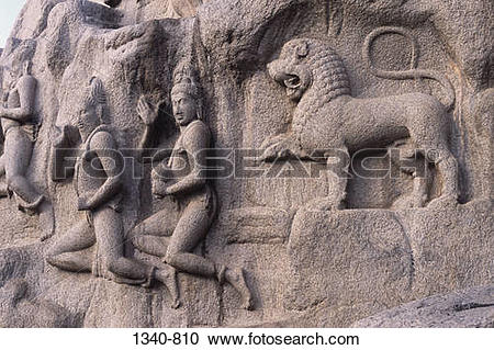 Stock Photography of Sculptures carved on rocks, Arjuna's Penance.