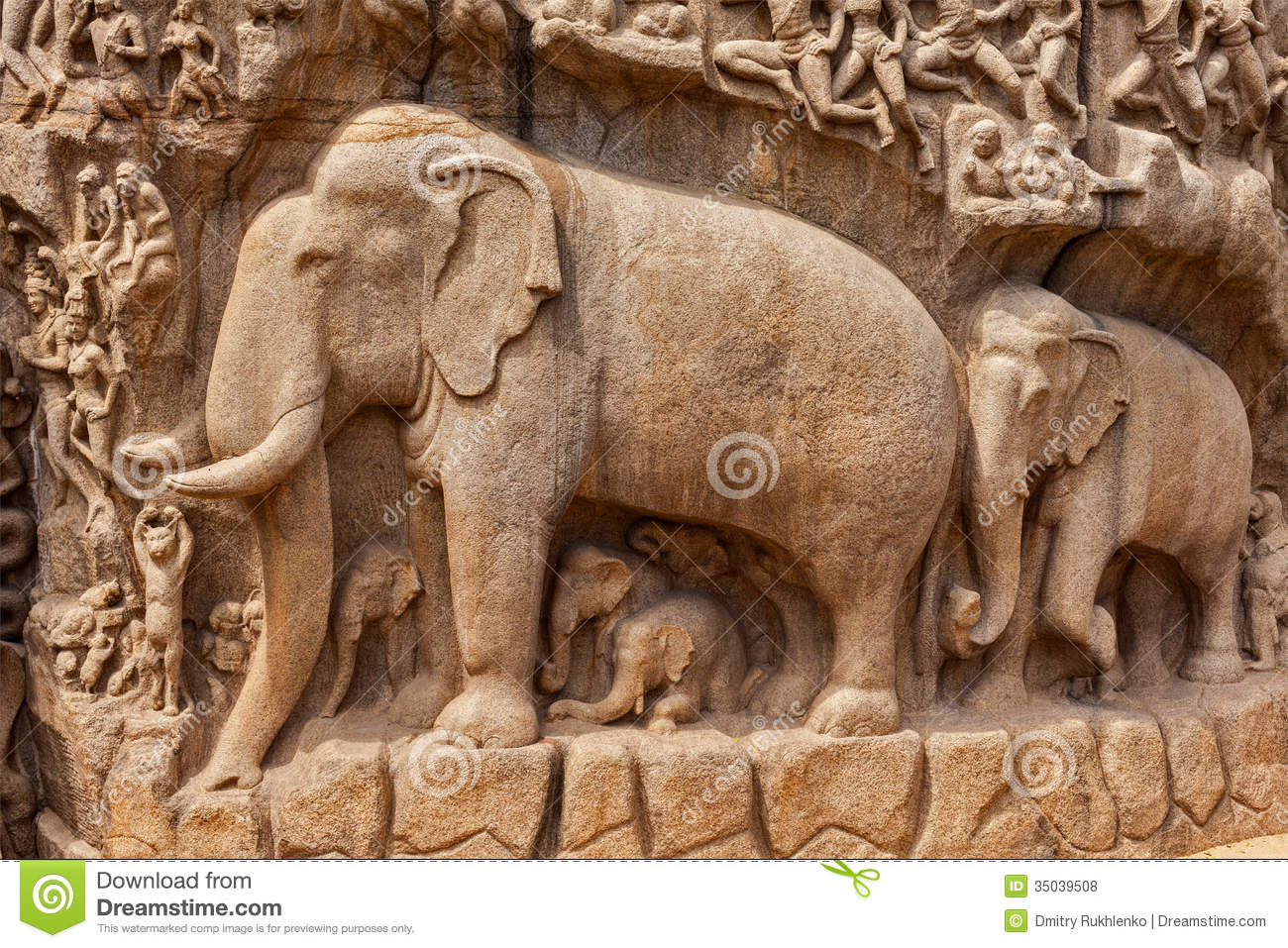 Monument At Mahabalipuram, Tamil Nadu Royalty Free Stock Image.