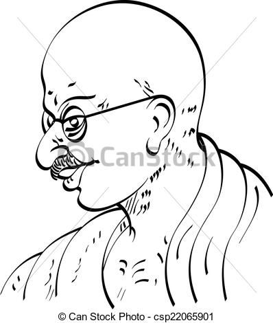 Vector Clipart of Calligraphic Mahatma Gandhi Ji, Political And.