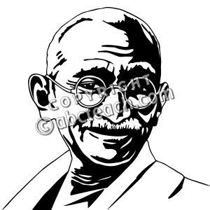 Clip Art: India: Mahatma Gandhi (coloring page).